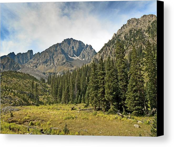 Blaine Canvas Print featuring the photograph North Face Of Mount Sneffels Above Blaine Basin In The San Juan Mountains Of Colorado by Brendan Reals