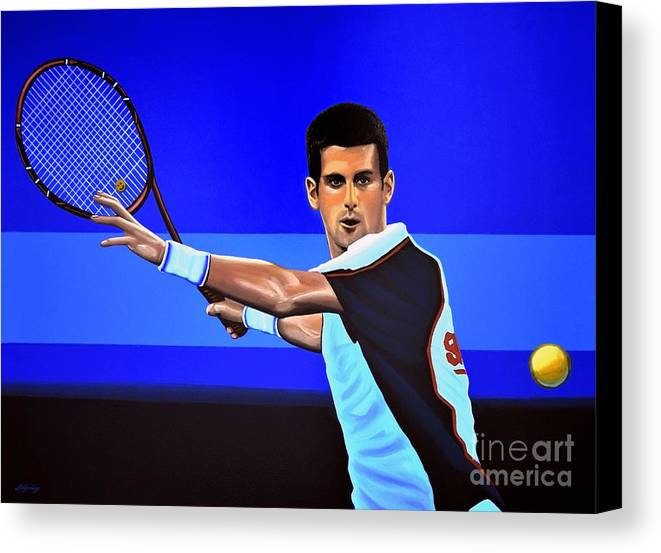 Novak Djokovic Canvas Print featuring the painting Novak Djokovic by Paul Meijering