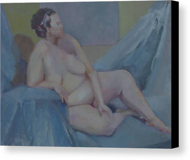 Tasteful Female Nude Canvas Print featuring the painting Nude In Blue        Copyrighted by Kathleen Hoekstra