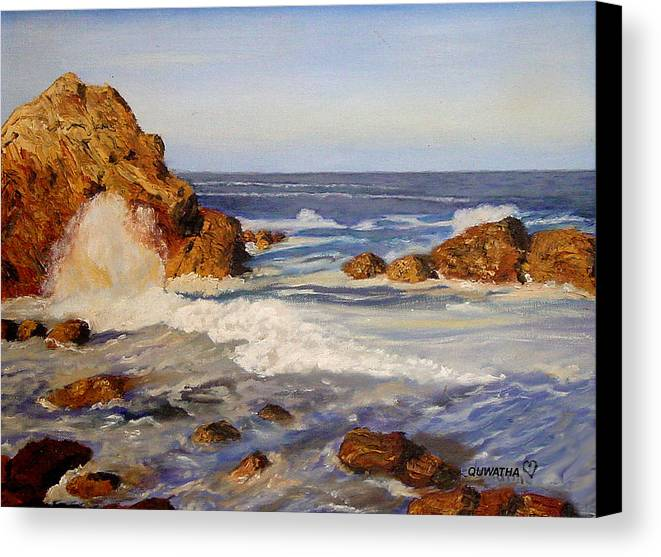 Seascape Canvas Print featuring the painting Ocean Rock by Quwatha Valentine