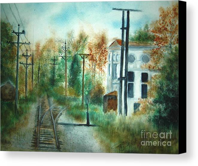 Landscape Canvas Print featuring the painting Old Cn Station Fort Langley Bc by Vivian Mosley