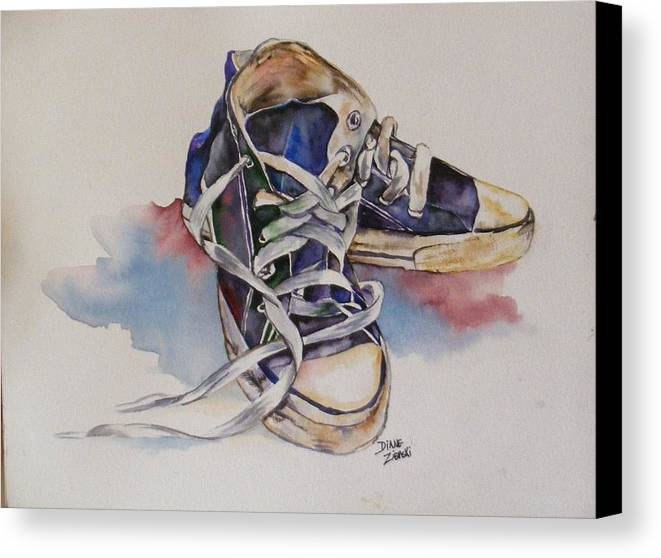 Canvas Print featuring the painting Old Shoes by Diane Ziemski