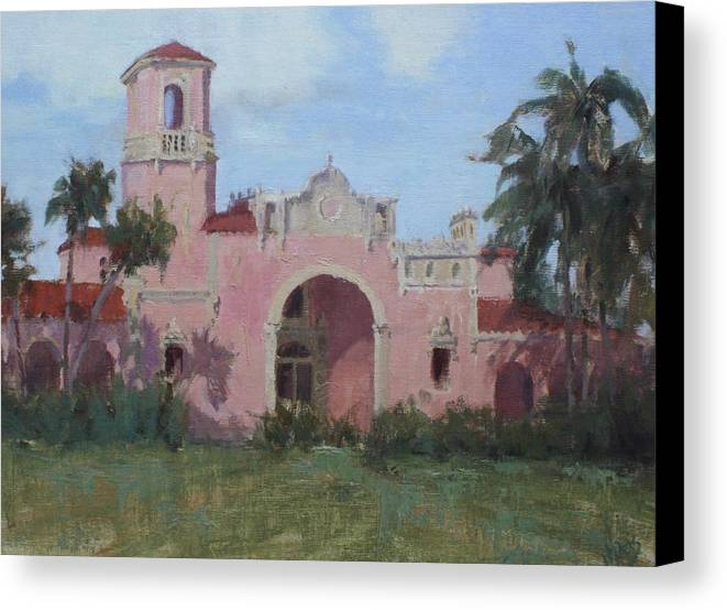 Landscape Canvas Print featuring the painting Old Train Station by Hope Reis