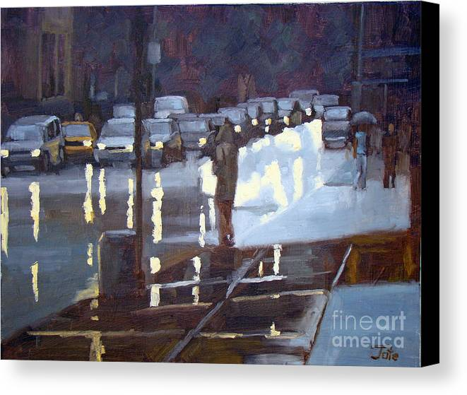 Cityscape Canvas Print featuring the painting On A Night Like This by Tate Hamilton