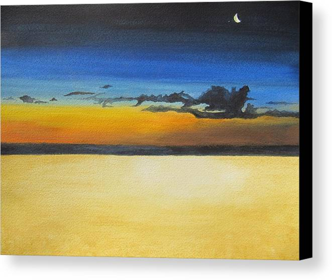 Beach Canvas Print featuring the painting On The Beach At Night by Leslie Gustafson