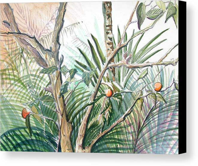 Fruit Canvas Print featuring the painting Orange Tree by Mindy Newman