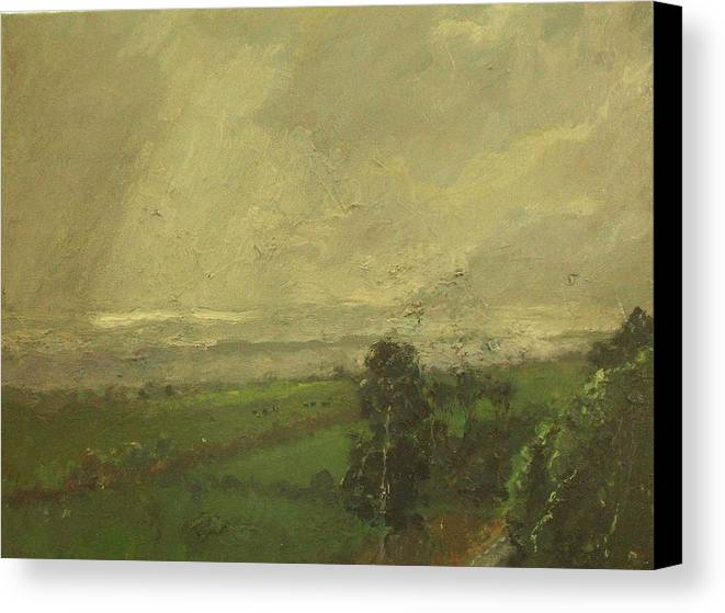 Landscape Canvas Print featuring the painting Over The Padocks To The Sea by Malcolm Mason