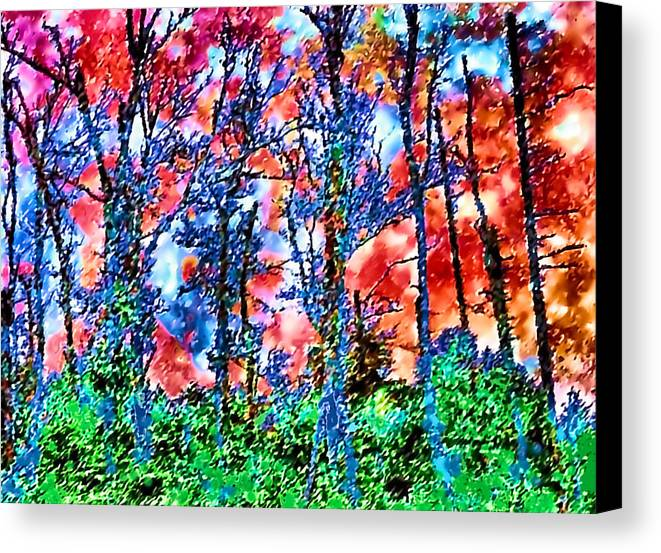 Woods Canvas Print featuring the painting p1050894s Kancamagus on Fire by Ed Immar