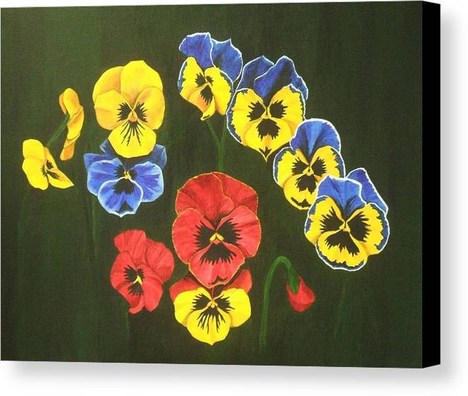 Pansy Flowers Canvas Print featuring the painting Pansy Lions Too by Brandy House