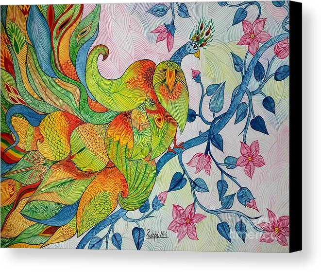 Abstract Painting Canvas Print featuring the painting Peacock- Abstract by Pushpa Sharma