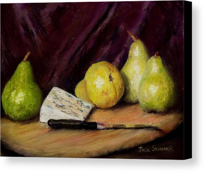 Still Life Canvas Print featuring the pastel Pears And Cheese by Jack Skinner