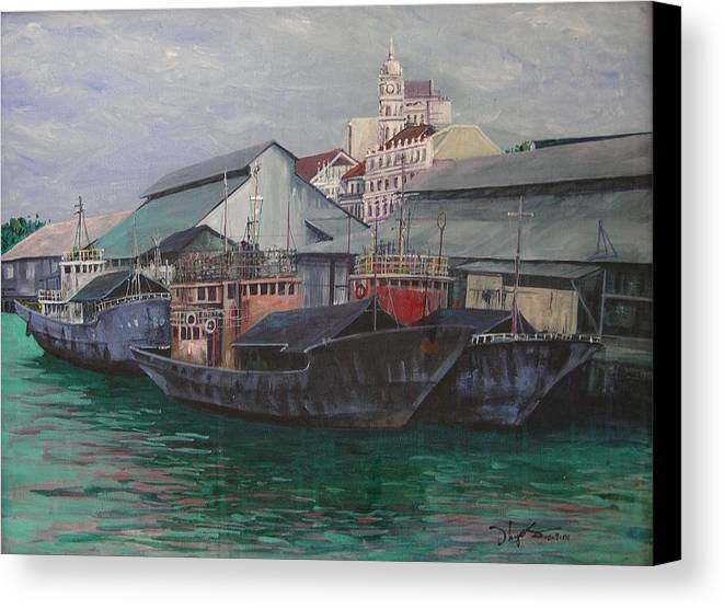 Seascape Canvas Print featuring the painting Penang Jetty by Richard Ong