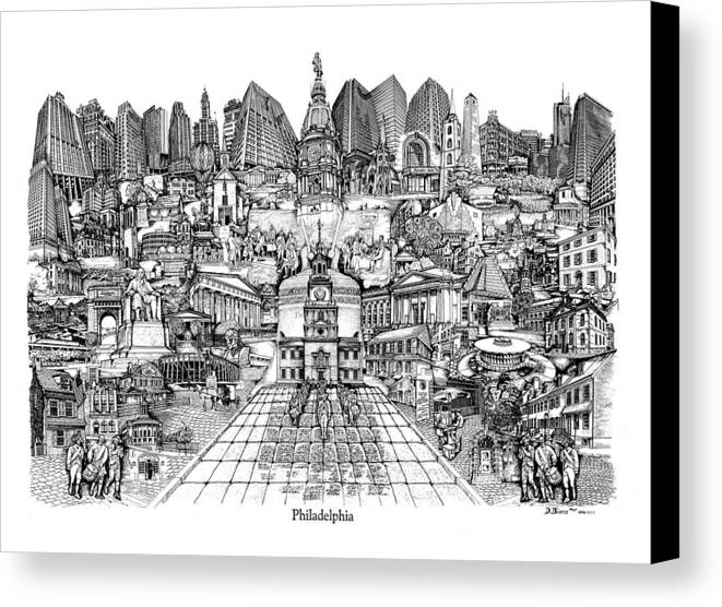 City Drawing Canvas Print featuring the drawing Philadelphia by Dennis Bivens