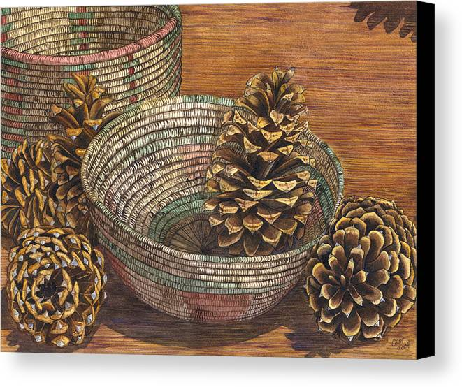 Pinecone Canvas Print featuring the painting Pinecones by Catherine G McElroy