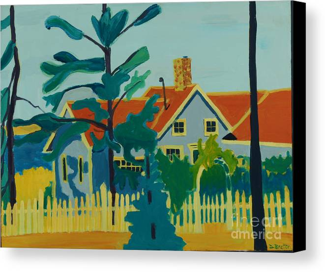 Beach Canvas Print featuring the painting Pinkys House On Pemaquid Point by Debra Bretton Robinson