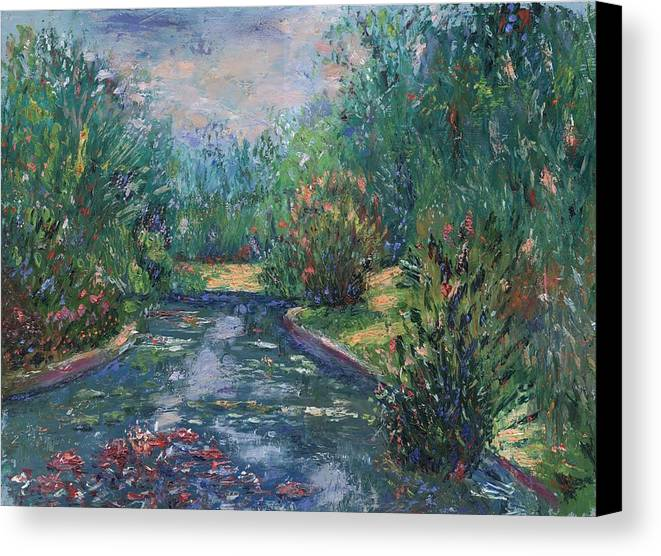 Oil Canvas Print featuring the painting Pond At Tower Grove Park by Horacio Prada