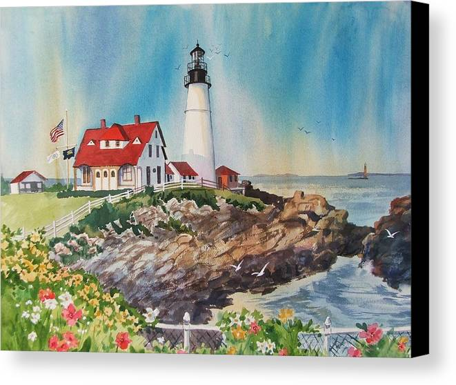 Portland Me Lighthouse Canvas Print featuring the painting Portland Head Light by Dianna Willman