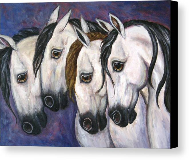 Horse Painting Canvas Print featuring the painting Purple Haze by Frances Gillotti