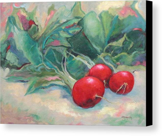 Radishes Canvas Print featuring the painting Radishes by Ginger Concepcion
