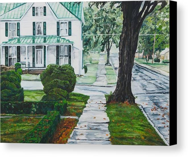 Small Town Canvas Print featuring the painting Rain On Green Roof by Thomas Akers