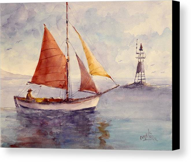 Sail Canvas Print featuring the painting Red Sail... by Faruk Koksal