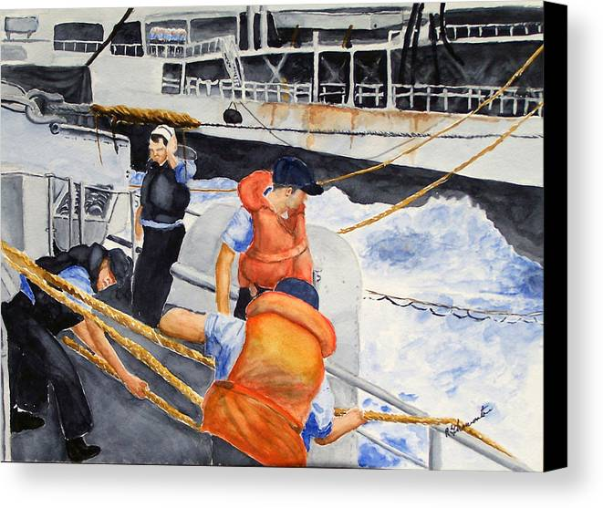 Navy Canvas Print featuring the painting Refueling by Robert Thomaston
