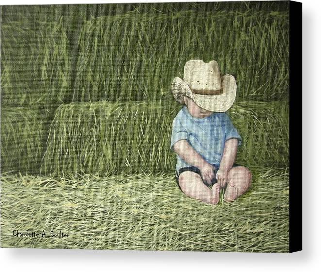 Western Canvas Print featuring the painting Resting by Charolette A Coulter