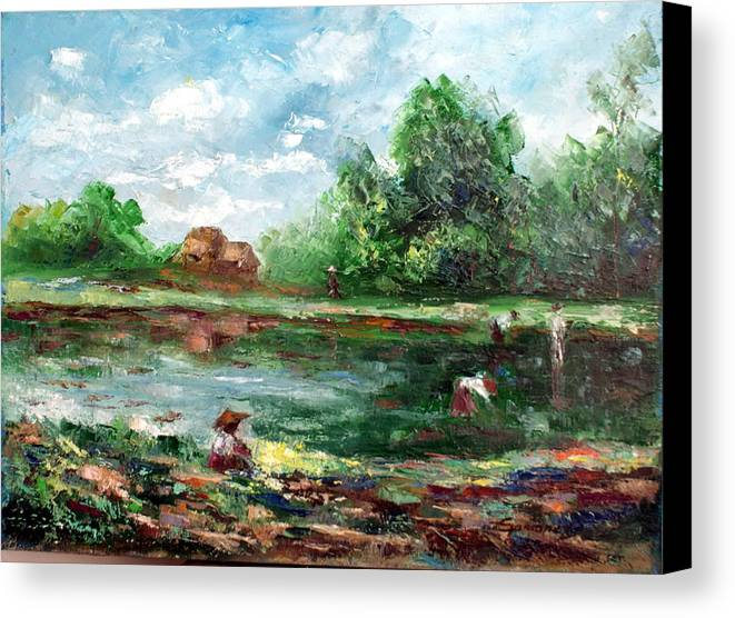 Ricefield Canvas Print featuring the painting Ricefield by Emmanuel Gamonez