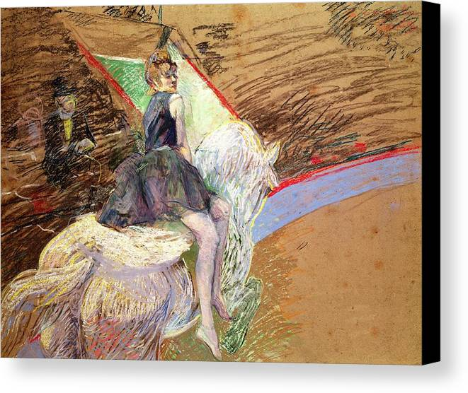 The Canvas Print featuring the pastel Rider On A White Horse by Henri de Toulouse Lautrec