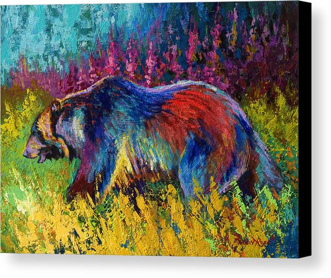 Western Canvas Print featuring the painting Right Of Way - Grizzly Bear by Marion Rose