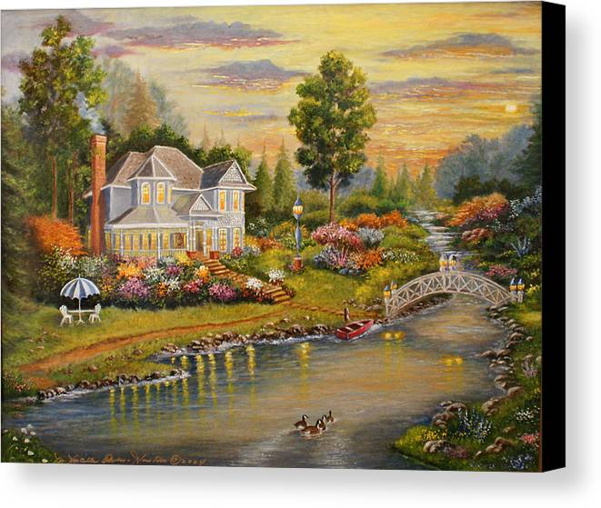 Landscape Canvas Print featuring the painting River Home by Lucille Owen-Huston