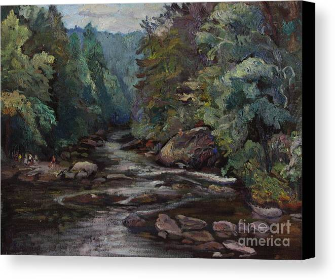 Oil Painting Canvas Print featuring the painting River Valley Visit by Maris Salmins