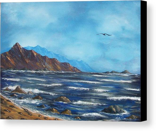 Seascape Canvas Print featuring the painting Rocky Shores by Tony Rodriguez