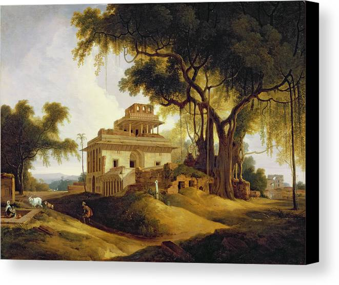 Ruins Canvas Print featuring the painting Ruins Of The Naurattan by Thomas Daniell