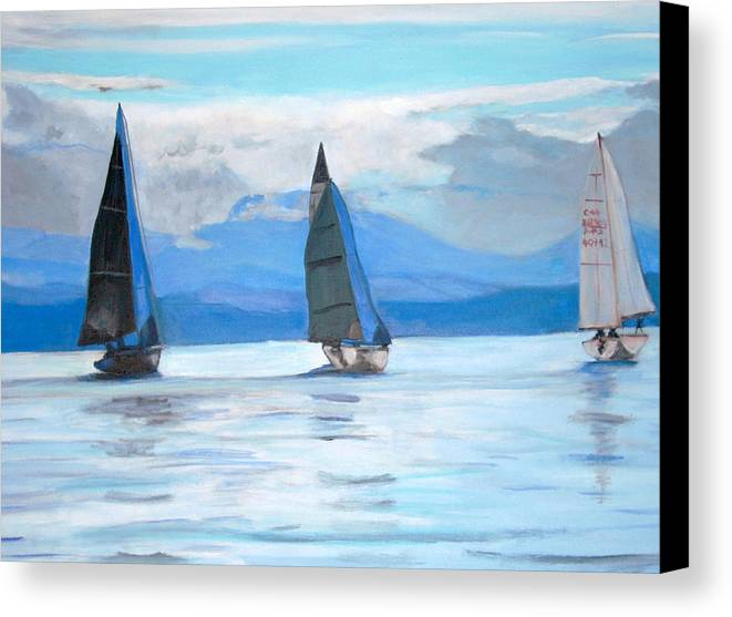 Boat Canvas Print featuring the painting Sailing Race by Teresa Dominici