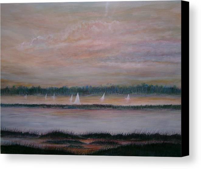 Sailboats; Marsh; Sunset Canvas Print featuring the painting Sails In The Sunset by Ben Kiger