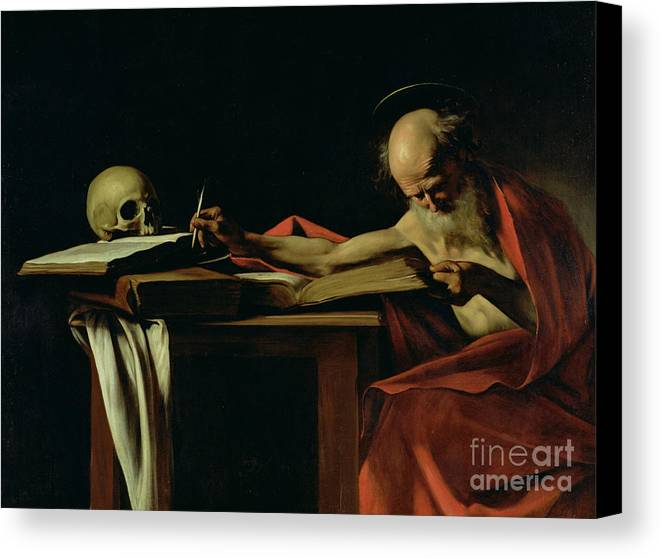 St Jerome Writing Canvas Print featuring the painting Saint Jerome Writing by Caravaggio