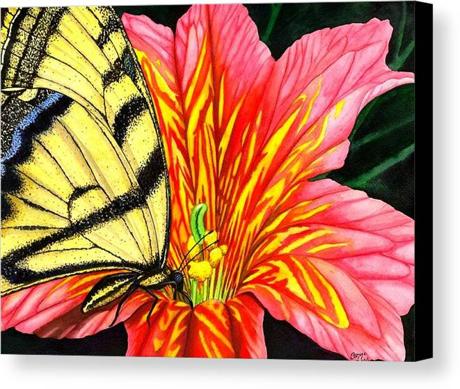 Salpiglossis Canvas Print featuring the painting Salpliglossis by Catherine G McElroy