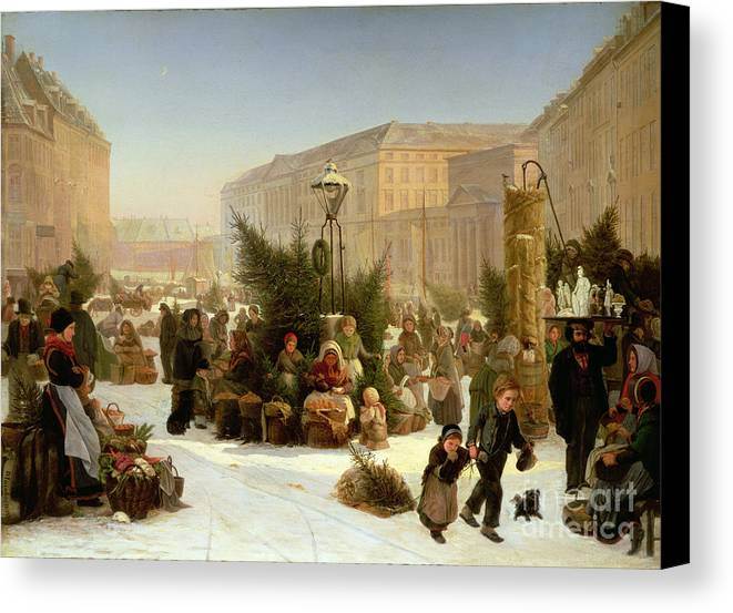 Selling Canvas Print featuring the painting Selling Christmas Trees by David Jacobsen