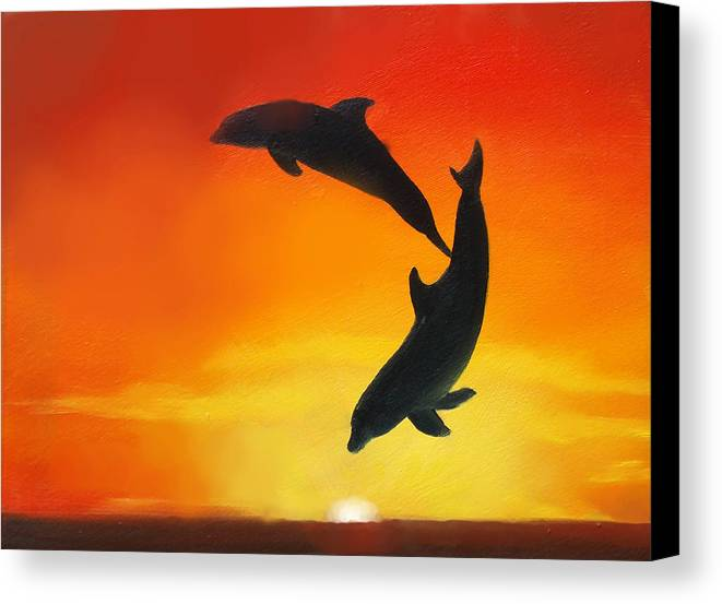 Sunset Canvas Print featuring the painting Showing Off by Darlene Green