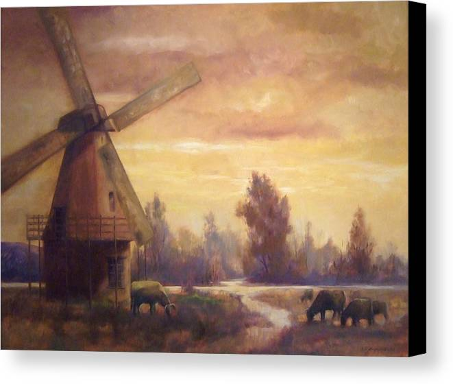 Windmill Canvas Print featuring the painting Sienna Mill by Ruth Stromswold