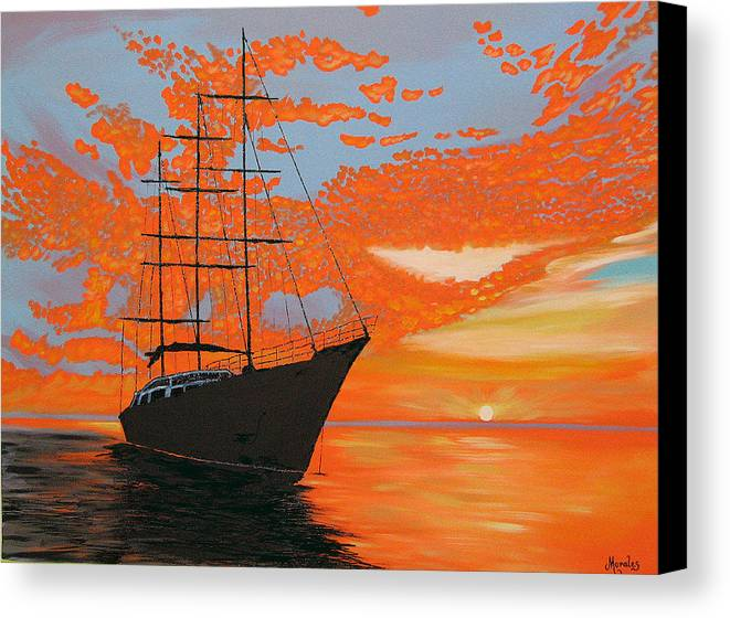 Seascape Canvas Print featuring the painting Sittin' On The Bay by Marco Morales