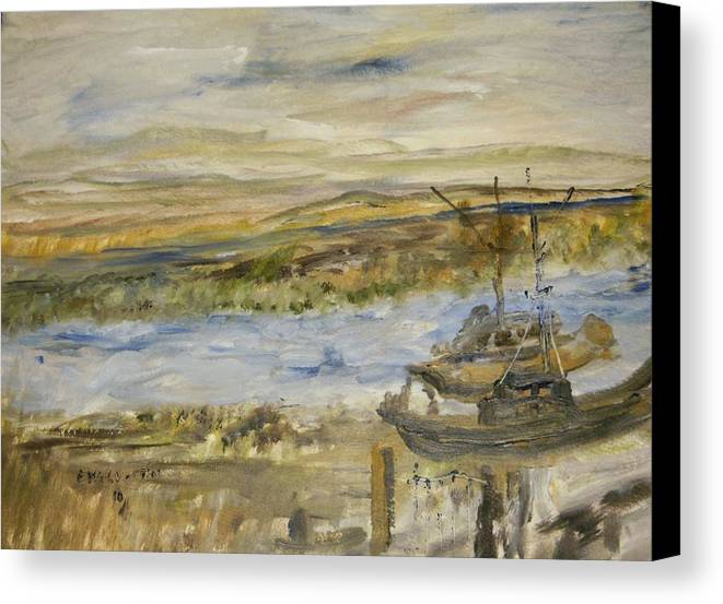 Southern Tip Of San Francisco Bay ( Alviso Boat Docks ) Canvas Print featuring the painting Sitting On The Dock Of The Bay by Edward Wolverton