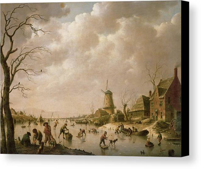 Skaters Canvas Print featuring the painting Skaters On A Frozen Canal by Hendrik Willem Schweickardt