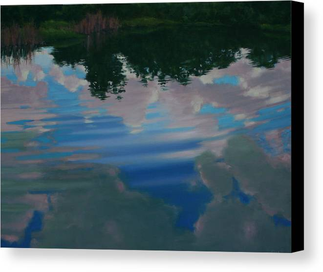 Oil On Canvas Canvas Print featuring the painting Sky Pond by Michael Vires