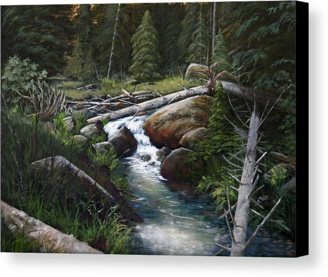 Landscape Canvas Print featuring the painting Small Stream In The Lost Wilderness 070810-1612 by Kenneth Shanika