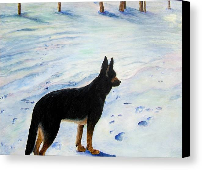 German Shepherd Canvas Print featuring the painting Sounds Of Silence by JoLyn Holladay