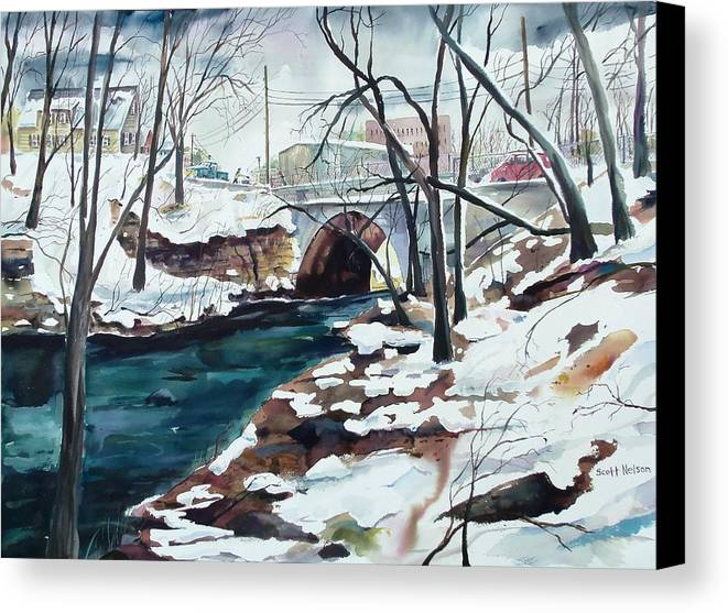 Watercolor Canvas Print featuring the painting South Main Street Bridge by Scott Nelson