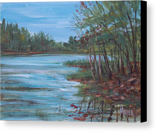 Landscape Canvas Print featuring the painting Spring Lake by Pete Maier