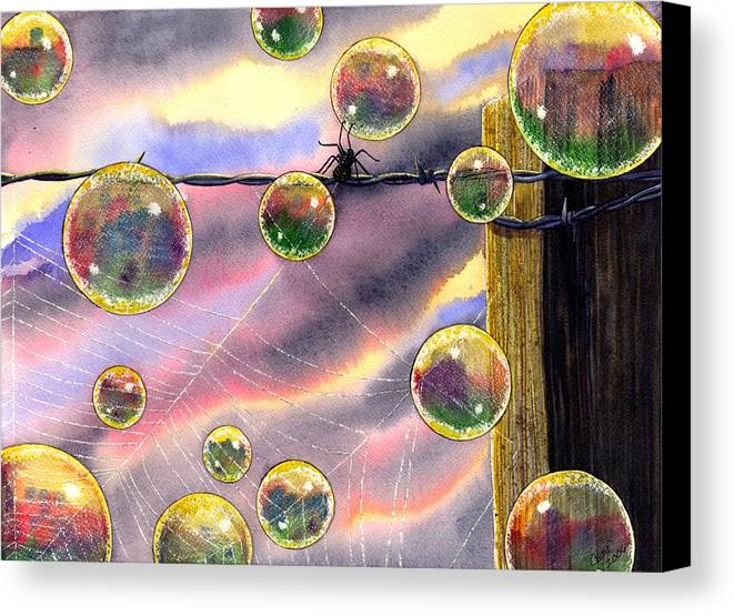 Bubbles Canvas Print featuring the painting Spyder by Catherine G McElroy